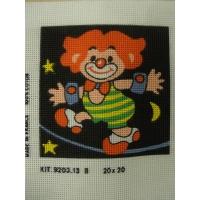 canevas motif CLOWN ETOILE JAUNE  20x20 cm