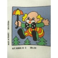 canevas motif CLOWN PARAPLUIE  20x20 cm
