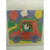 canevas motif PERSONNAGE VOITURE 20x20 cm