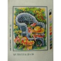 canevas motif ROMANCE CHAISE CHAPEAU ET FLEURS   20x25 cm