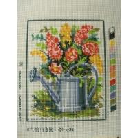 canevas motif ROMANCE ARROSOIR FLEURS 20x 25 cm