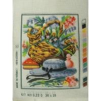 canevas motif ROMANCE PANIER FLORAL, LIVRE ET CHAPEAU 20x 25 cm
