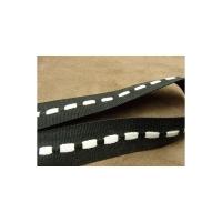 ruban gros grain bicolore noir et blanc,2.5 cm,sangle entrelacée de fils coton couleur blanc