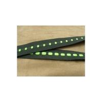 Ruban gros grain vert sur fond noir , 2.5 cm, sangle entrelacée de fils coton couleur vert
