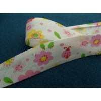 Ruban biais enfants fleur rose et jaune sur fond blanc 25 mm