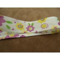 Ruban biais enfants coton fleur violet et jaune, 25 mm