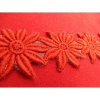 guipure fleur brodé coton rouge ,6 cm
