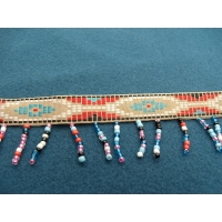 ruban frange perlé multicolore 3 cm