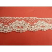DENTELLE DE CALAIS blanche surbrodé de fabrication française, 4 cm