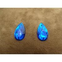 Strass goutte bleu,22 mm, Idéal pour vêtement, pochette, sac...vendu par 10 pièces