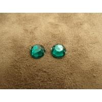 strass rond vert foncé,8 mm, idéal pour vêtement, pochette, sac..vendu par 10 pièces