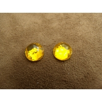 strass rond jaune,11 mm, sublime  pour vêtement, pochette, sac...vendu par 10 pièces