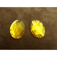 Strass ovale jaune 25mm x 15mm, convient pour vêtement, pochette, sac...., vendu à la pièce