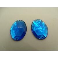 Strass ovale bleu,25mm x 15mm,convient pour vêtement, pochette, sac...., vendu à la pièce
