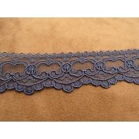 DENTELLE DE CALAIS bleu, de fabrication française,3.5 cm, dentelé sur une bordure