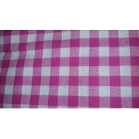 tissu coton imprimé à carreau blanc et rose 100%coton