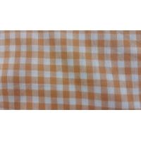 tissu coton vichy carreau  orange et blanc,150 cm