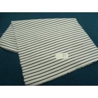 tissu coton uni à fine raillure bleu et blanc