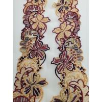 nouvelle DENTELLE/ BRODERIE multicolore bordeaux et beige 15 cm