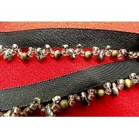 ruban perlé avec satin noir , 1.5 cm, Spécialement conçu pour des finitions parfaites pour vos travaux de couture,