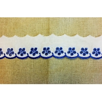 Broderie anglaise Dentellée couleur-5cm- bleu