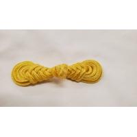 NOUVEAU Bouton brandebourg jaune/doré longueur 8 cm/ largeur 2,3 cm