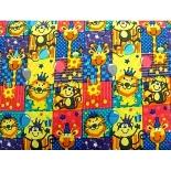 tissu coton imprimé animaux lion multicolore, 150 cm,idéal pour toutes vos réalisations et créations