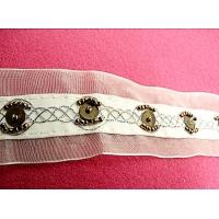 ruban organza blanc brodé, 4 cm,perle de rocaille, idéal pour toutes décorations et finitions et embelli vos articles