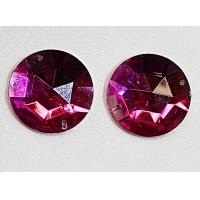 strass rond violet, 25 mm, Idéal pour vêtement, pochette, sac...vendu à la piéce