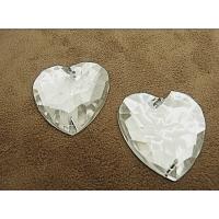 strass coeur argent, 34 mm, convient pour vêtement, pochette, sac...., vendu à la pièce