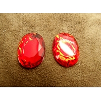Strass ovale rouge 25mm x 15mm, idéal pour vêtement, pochette, sac...., vendu à la piéce