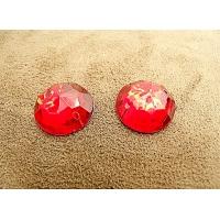 strass rond rouge ,18 mm, parfait  pour vêtement, pochette, sac...vendu à la pièce