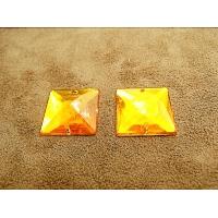 Strass carré orange 2 cm x 2 cm, idéal pour vêtement, pochette, sac...., vendu à la pièce