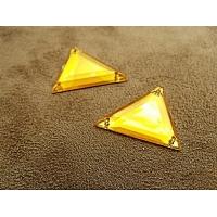 Strass acrylique triangle orange, 26 mm vendu par 10 pièces