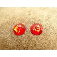 strass rond rouge ,15 mm, parfait  pour vêtement, pochette, sac...vendu par 10 pièces