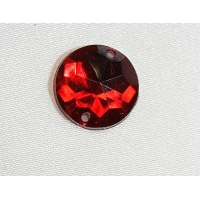 strass rond- 15mm- rouge