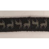NOUVEAU ruban fantaisie avec cerf,1 cm, noir et gris