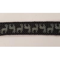 NOUVEAU ruban fantaisie noir a petit pois bleuté motif cerf,1 cm