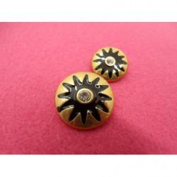 col à  coudre  perlé noir et or