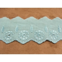 BRODERIE ANGLAISE-4 cm / 3 cm- BLEU TURQUOISE