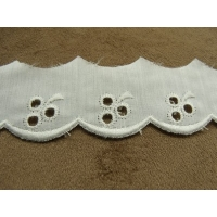BRODERIE ANGLAISE-2,5 cm / 1,5 cm- BLANCHE