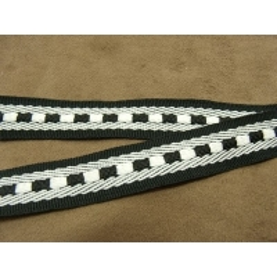 Ruban style sangle-2cm - noir et blanc