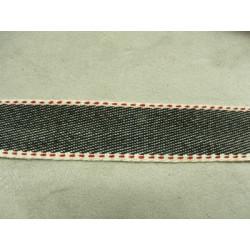 Sangle coton 3 cm lanière - VERT SUR FOND BORDEAUX
