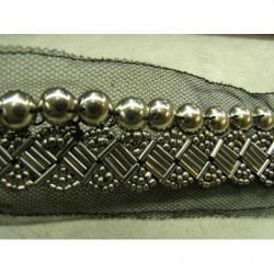 RUBAN FRANGE- CRÈME  en polyester -3 cm