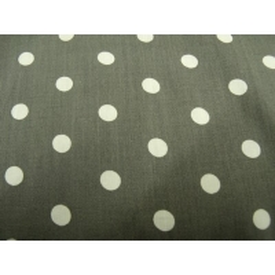 tissu coton imprimé gris à pois blanc