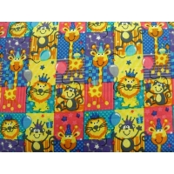 tissu coton imprimé animaux lion- MULTICOLORE