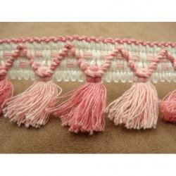 tissu coton imprimé saumon - à pois blanc