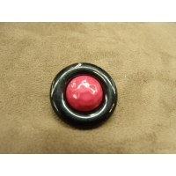 bouton bicolore composé -28 mm- fuchsia et noir